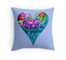Periwinkle Floral Heart Designer Art Gifts Throw Pillow