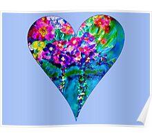 Periwinkle Floral Heart Designer Art Gifts Poster