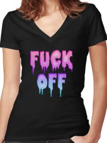 Pastel Colors - FUCK OFF - Pastel Goth - Tee Shirt~ Women's Fitted V-Neck T-Shirt