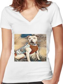 The Friendly Well Groomed Pit Bull Women's Fitted V-Neck T-Shirt