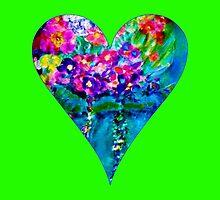 Lime Green Floral Heart Designer Art Gifts by innocentorigina