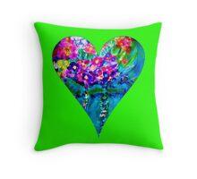 Lime Green Floral Heart Designer Art Gifts Throw Pillow