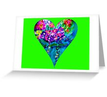 Lime Green Floral Heart Designer Art Gifts Greeting Card