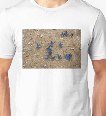 Enchanting Butterflies - Dainty Sapphires Scattered on Rough Ground Unisex T-Shirt