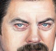 Ron Swanson Portrait Nick Offerman Art Sticker