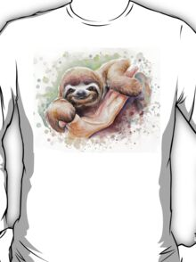 Baby Sloth Watercolor | Animal Art T-Shirt