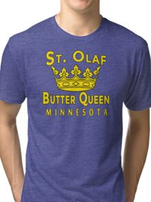Saint Olaf Butter Queen Minnesota Tri-blend T-Shirt