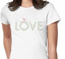 Floral Love Bird Womens Fitted T-Shirt