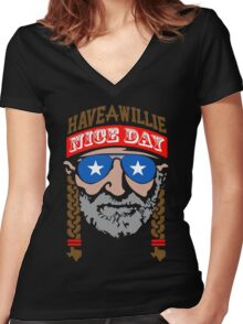 Have A Willie Nice Day Women's Fitted V-Neck T-Shirt