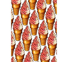 Strawberry Soft Serve Twist Pattern Photographic Print