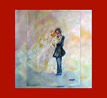 Floral Heart Designer Art Gifts - Dark Red by innocentorigina