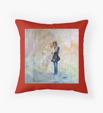 Floral Heart Designer Art Gifts - Dark Red Throw Pillow