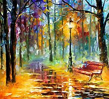 Red Bench — Buy Now Link - www.etsy.com/listing/210065987 by Leonid  Afremov