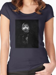 Bela Lugosi dracula - black and white digital painting Women's Fitted Scoop T-Shirt