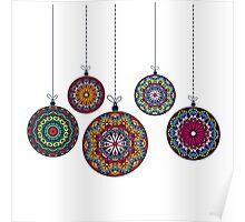 Christmas Mandala Bolls. Merry Christmas and Happy New Year Poster