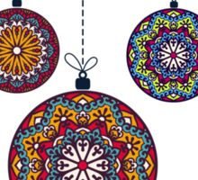 Christmas Mandala Bolls. Merry Christmas and Happy New Year Sticker