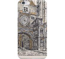 Vintage View of Gros Horloge street, Rouen iPhone Case/Skin