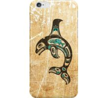 Teal Blue and Black Haida Spirit Killer Whale iPhone Case/Skin