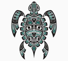 Teal Blue and Black Haida Spirit Sea Turtle T-Shirt