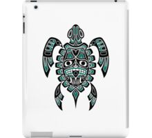 Teal Blue and Black Haida Spirit Sea Turtle iPad Case/Skin