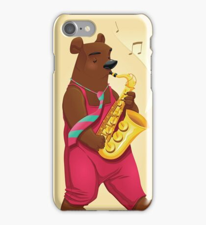 Bear Playing Saxophone iPhone Case/Skin