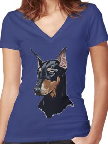 Doberman Women's Fitted V-Neck T-Shirt