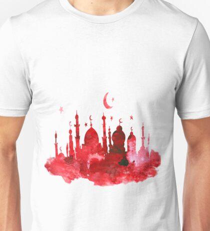 Mosque watercolor. Arabic background. Unisex T-Shirt