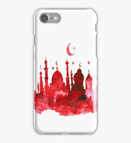Mosque watercolor. Arabic background. iPhone Case/Skin
