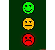 Smiley Traffic Lights - Green For Go Photographic Print