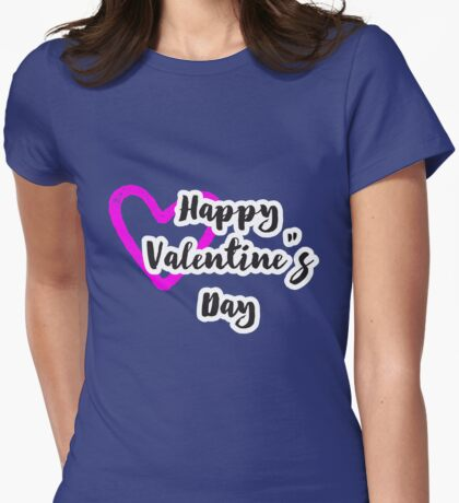 Happy Valentines With Love Womens Fitted T-Shirt