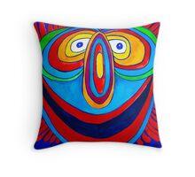 Rainbow Hand Drawn Face Throw Pillow
