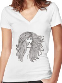 Girl with long beautiful hair Women's Fitted V-Neck T-Shirt