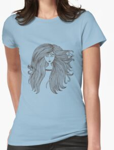 Girl with long beautiful hair Womens Fitted T-Shirt