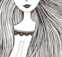 Girl with long beautiful hair Sticker