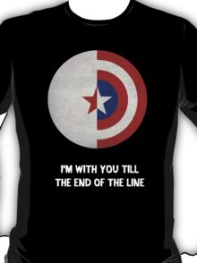 Cap and Bucky White Text T-Shirt