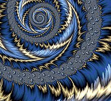 Blue Gold Spiral Abstract by John Edwards