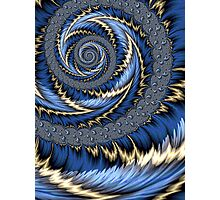 Blue Gold Spiral Abstract Photographic Print