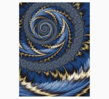 Blue Gold Spiral Abstract T-Shirt