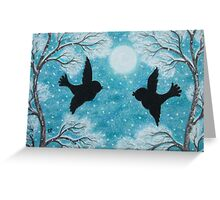 Birds Silhouettes in Snow with Tree and Moon Greeting Card