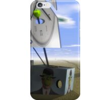 Magritte sailing phantom clocks on desert  iPhone Case/Skin