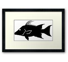 Hogfish Silhouette (Black) Framed Print