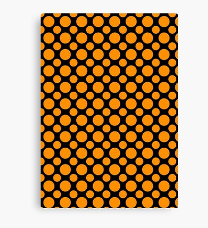 Orange Polka Dots On Black Background Canvas Print