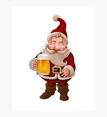 Santa Claus Beer Photographic Print