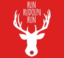 Funny 'Run Rudolph Run' Red Nose Holiday Reindeer T-Shirt by Albany Retro