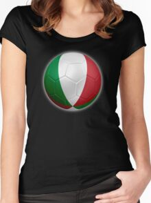 Italy - Italian Flag - Football or Soccer 2 Women's Fitted Scoop T-Shirt