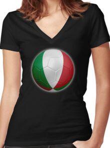 Italy - Italian Flag - Football or Soccer 2 Women's Fitted V-Neck T-Shirt