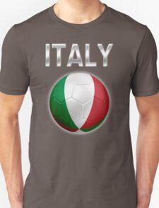 Italy - Italian Flag - Football or Soccer Ball & Text 2 Unisex T-Shirt
