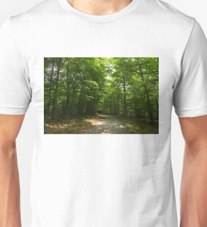Green Sunshine - an Early Summer Forest Path Unisex T-Shirt
