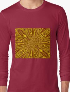 Luxury Red and Gold Foil Christmas Kaleidoscope Long Sleeve T-Shirt