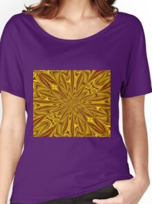 Luxury Red and Gold Foil Christmas Kaleidoscope Women's Relaxed Fit T-Shirt